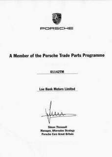 Porsche Trade Parts Programme - Loe Bank Motors